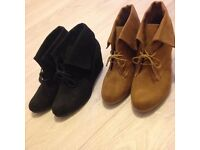 Wedge shoe boots size 6 New Look Black and Tan