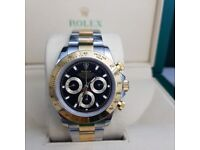 Twotone black face Rolex Daytona comes complete with Rolex Box and paperwork