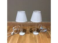 2 VERY ELEGANT, IMMACULATE CREAM BEDSIDE LAMPS