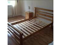 pine double bed with memory foam mattress