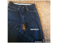 KAREN MILLEN JEANS dark denim 10 bootcut silver logo 2 studs and fancy buckle at back worn few times