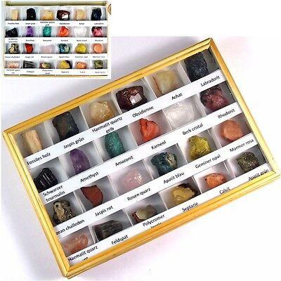 24 Stück Mineralien Sammlung Flat Edelsteine Natur Kristalle Adventskalender TOP
