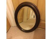 Mirror with dark brown frame