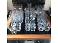 40 Piece Glass Job Lot, Pint, half pint, wine glasses and a full set included!