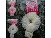 New Soft Touch Baby Headband Pink/White/Cream