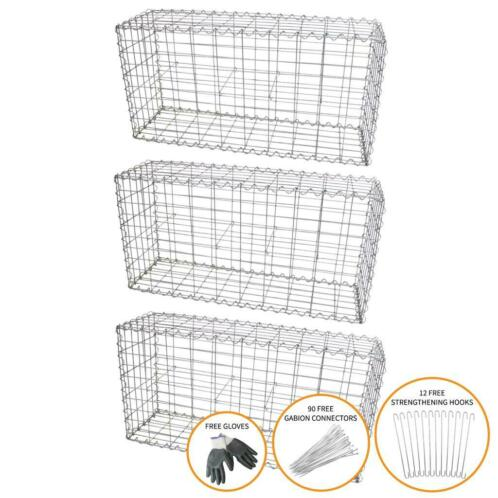 MonsterShop Lot de 3 Paniers de Gabions 100 x 50 x 30