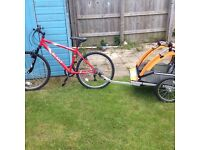 Bike and 2 seater kids trailer