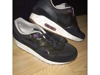 NIKE AIR MAX 1 : Black, white-and purple colourway- SIZE-5/EUR-38