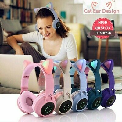 Portable Wireless Cat Ear Headphones Bluetooth Headset LED Lights Earphone Kids