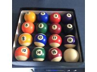 Complete set of American pool balls