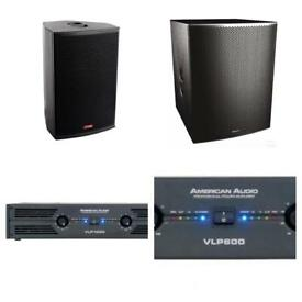 Club Bar Sound Package American Audio Sound System 2 Bass Bins 9 Tops 5 Amps