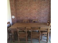 ANTIQUE PINE 6 SEATER DINNING TABLE ONLY USED ONCE AT XMAS NEW HOUSE FORCES SALE