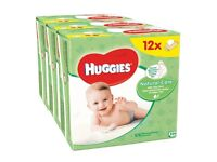 12 pks of Huggies Natural Care Baby Wipes. With soothing aloe vera & vitamin E