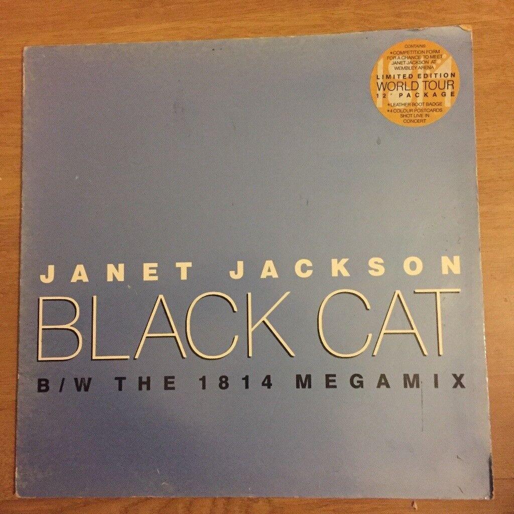 "Janet Jackson Black Cat B/W The 1814 Megamix Limited Edition World Tour 12"""
