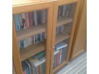 Ikea oak billy bookcase with glass doors