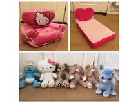 Build a bear bed, chair, dog, palace pet, smurfette, rabbit, hallo kitty