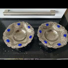 2 x Silver n gem snack bowls dry fruits plates