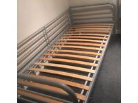 Ikea silver frame slatted single day bed 97cm x 207cm very good condition and easy to assemble