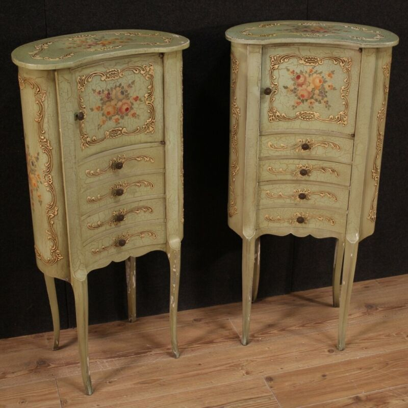 Pair of night stands furniture cabinets sideboard painted commode antique style