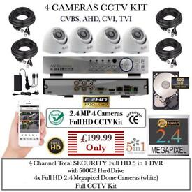 4 Cameras Full CCTV Kit: 4ch Total SECURITY DVR, 4x 1080P 2.4MP Dome Cameras