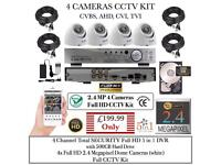 4 Cameras Full CCTV Kit: 4ch Total SECURITY DVR, 4x 1080P 2.4MP Dome Cameras