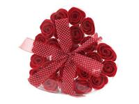 24 Luxury Soap Red Roses in Heart Box
