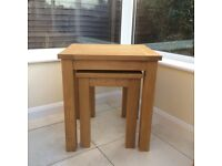 As new, Oak Nest of tables - NEXT Cambridge Light range