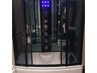 Luxury Steam Shower Cabin 850 x 1500mm Hydro Massage Jets, Mood Lighting, Foot Massager