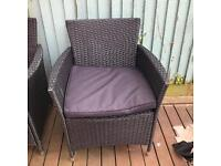 Three piece Garden furniture with cushions.