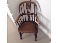 Antique Elm and Yew Child's Windsor Chair
