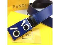Blue fashion styled eyes buckle smooth black and blue Leather belt for him fendi boxed gift