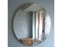 Quality handcrafted mosaic tiled edged round mirror