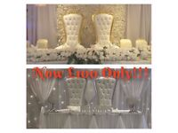 Event Decor Hire-Throne Chairs/Love Lounge/Chair Covers/Table Covers/Centre Pieces/LED Dance floor!