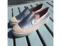 Silver, leather, platform espadrilles