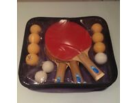 Table tennis bats and balls in carry case