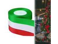 Satin Ribbon Reels Double Sided Faced for Party Decoration, Green, Red & White, 75m