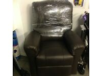 Dual motor Brown Leather Recliner
