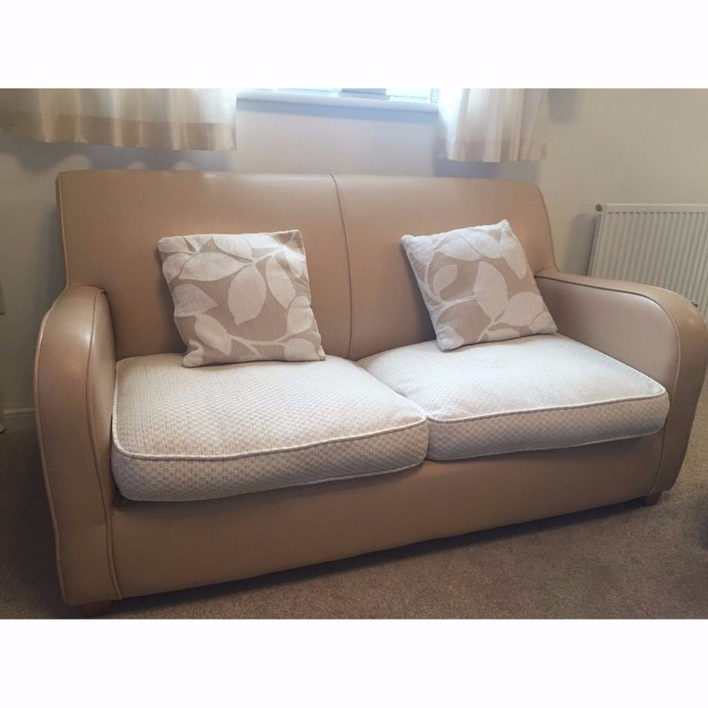 Two Seater Sofa Living Room Dfs Cream Leather Two Seater Sofa Bed With Fabric Cushions In