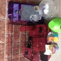 Red 3 level hamster cage with supply's