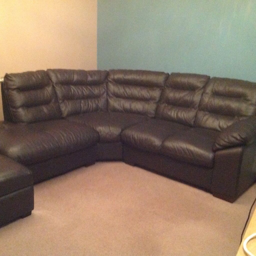 Dfs Brown Leather Corner Sofa Excellent Condition Hardly Used In Sunderland Tyne And Wear