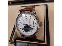 New white face brown strap silver Casing power reserve calender with flying wheel automatic sweeepin