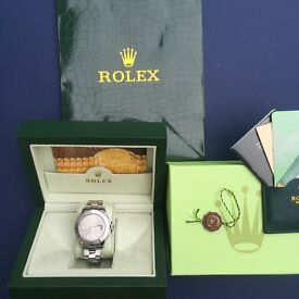 Complete Rolex yachtmaster with box set with silver face bezel and strap