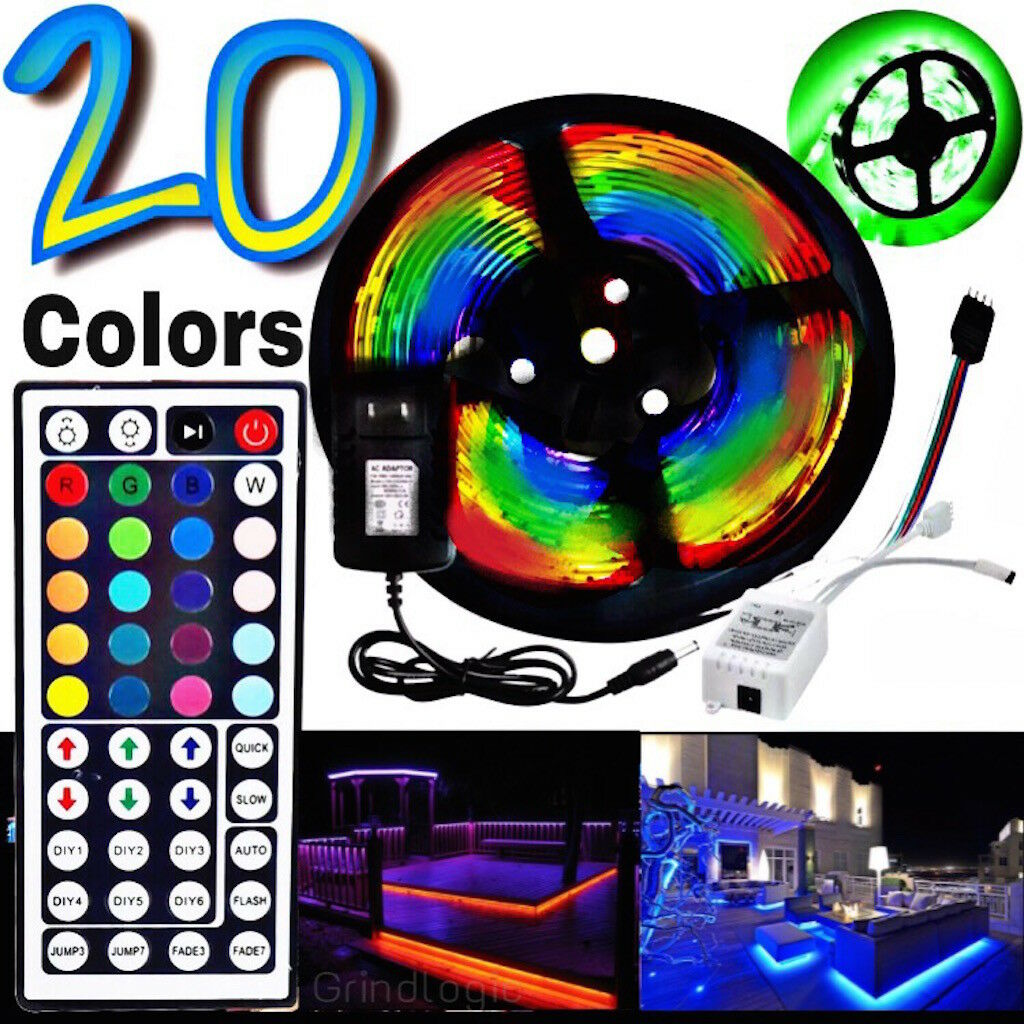 Led - 5M RGB 5050 Waterproof LED Light Strip SMD 44 Key Remote 12V US Power Full Kit