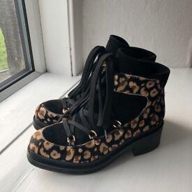 Miista leopard suede/ponyhair boots