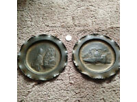 Two hand crafted WW1 brass wall plates Dinant Belgium 1914