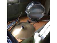 Premier snare drum with stand and cymbal with stand - can be bought separately