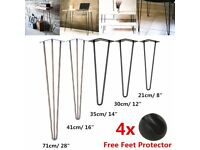 SET OF 4 HAIRPIN LEGS for Table/Bench/Desk/Cabinet + Protector feet