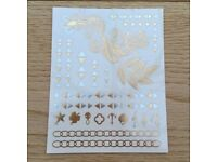1 x Sheet of Metallic Temporary Flash Tattoo - Holiday / Beach / Festival Accessories