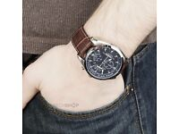 Men's Chronograph Brown Leather Watch.