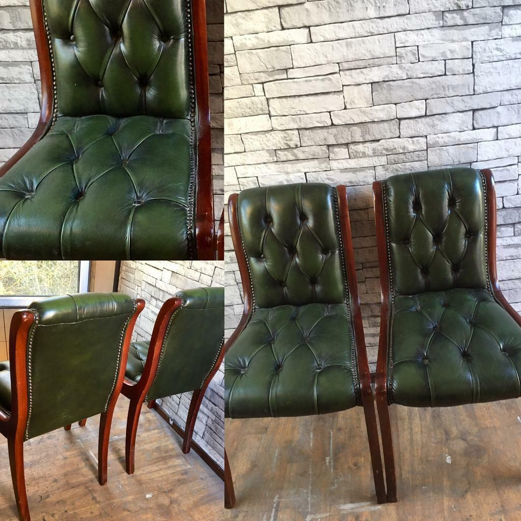 c1115202f79d 2x Antique Green leather chesterfield desk office chairs